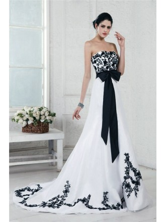 A-Line Strapless Sweep Train Embroidery Wedding Dresses with Sash