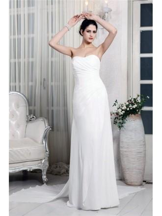 Sheath Sweetheart Floor-length Chiffon Wedding Dresses