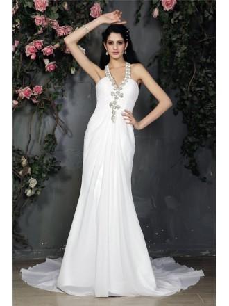 Sheath Halter Sweep Train Chiffon Wedding Dress With Beading