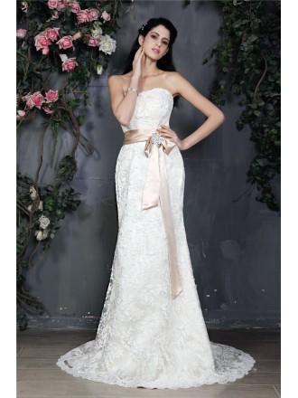 Sheath Strapless Sweep Train Lace Wedding Dress With Sash