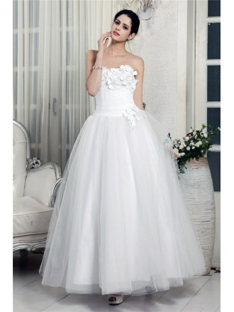 A-line Strapless Ankle-length Tulle Wedding Dress With Flowers