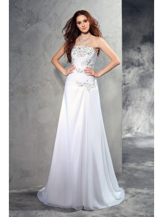 A-Line Strapless Floor-length Chiffon Wedding Dresses with Beading