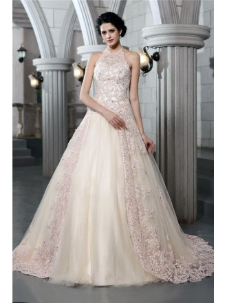 Ball-gown Halter Chapel Train Tulle Wedding Dress With Beading Lace