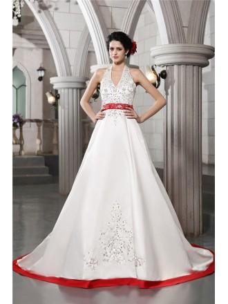 A-line Halter Chapel Train Satin Wedding Dress With Beading