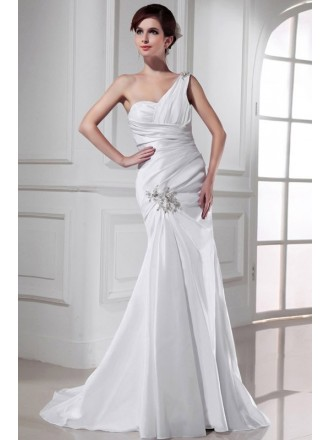 Mermaid One-shoulder Sweep Train Satin Wedding Dress With Beading
