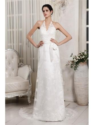 Sheath Halter Sweep Train Lace Wedding Dress With Sash