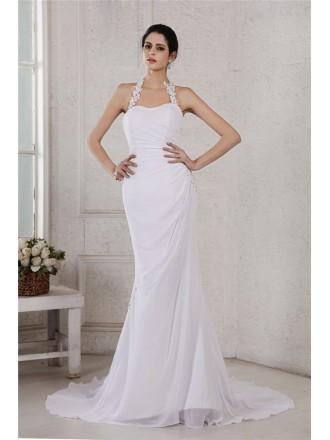 Mermaid Halter Sweep Train Chiffon Wedding Dress With Beading