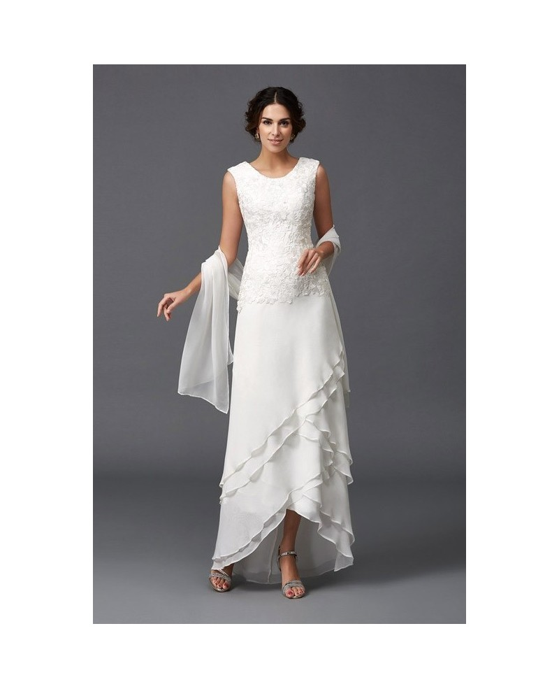 Simple Ankle Length Lace Wedding Dresses White Three: Older Bride Wedding Dress Chiffon A-line Scoop Neck Ankle