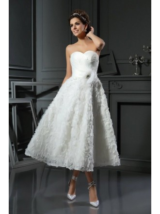 A-line Sweetheart Tea-length Satin Wedding Dress With Ruching