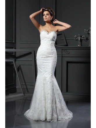 Mermaid Sweetheart Sweep Train Lace Wedding Dress With Beading