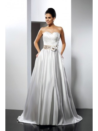 Ball Gown Sweetheart Court Train Satin Wedding Dress with Sash