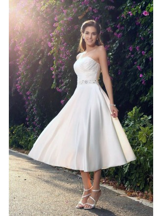 A-line Strapless Tea-length Satin Wedding Dress With Beading