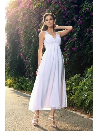 A-line V-neck Tea-length Chiffon Wedding Dress With Beading