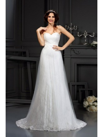 A-line Sweetheart Court Train Tulle Lace Wedding Dress