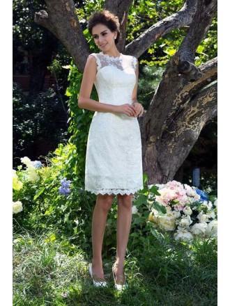 Sheath Scoop Neck Short Sleeveless Lace Wedding Dress