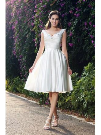 A-line V-neck Knee-length Satin Wedding Dress With Beading