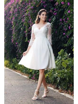 A-line V-neck Knee-length Chiffon Wedding Dress With 3/4 Sleeves