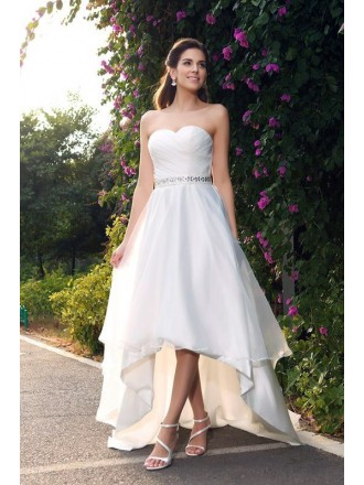 A-line Sweetheart High Low Satin Wedding Dress with Beading