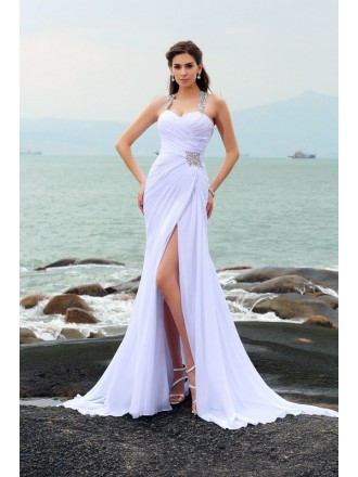 Sheath Halter Sweep Train Chiffon Wedding Dress With Split