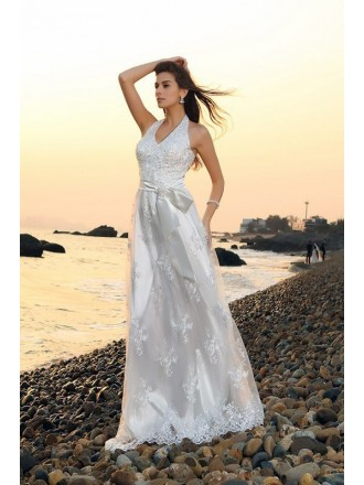 A-line Halter Sweep Train Lace Wedding Dress With Beading