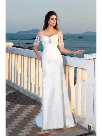 A-line Sweetheart Sweep Train Lace Wedding Dress With Sleeves