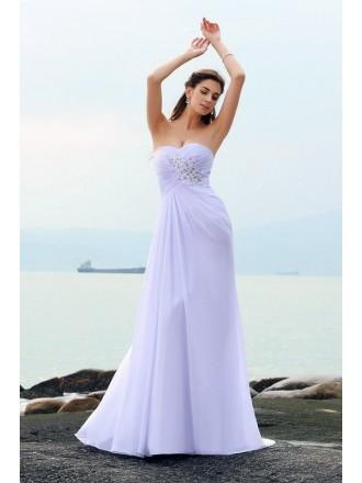 Sheath Sweetheart Sweep Train Chiffon Wedding Dress With Beading