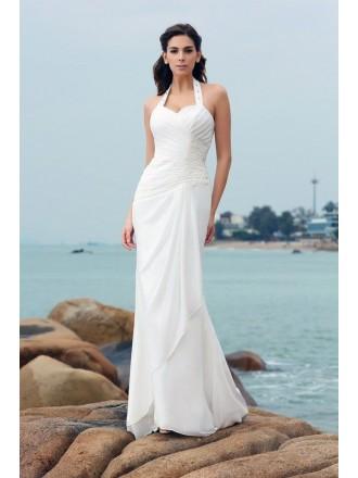 Sheath Halter Floor-length Chiffon Wedding Dress With Open Back