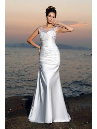 Mermaid Scoop Neck Floor-length Satin Wedding Dress With Ruching