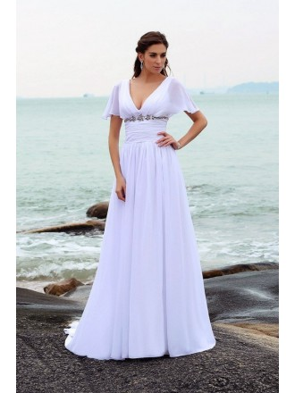A-line V-neck Sweep Train Chiffon Wedding Dress With Sleeves