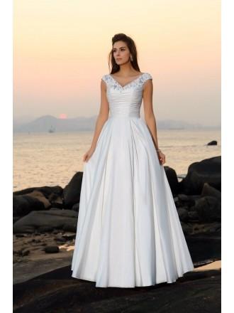 A-line V-neck Floor-length Satin Wedding Dress With Beading