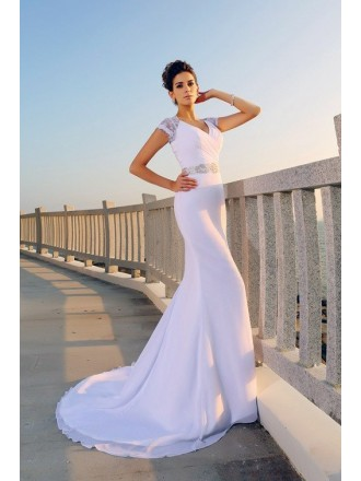 Mermaid V-neck Sweep Train Chiffon Wedding Dress With Lace