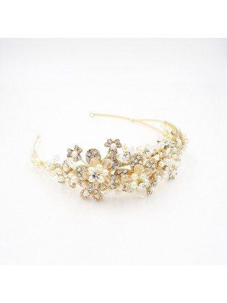 Luxury Pure Handmade Golden Pearls and Rhinestone Wedding Headband