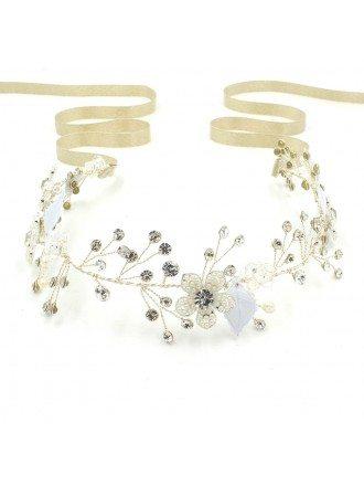 Charming Flower Leaf and Twigs Beaded Golden Ribbon Wedding Headband Pure Handmade Headpiece