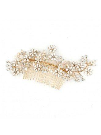 Luxury Golden Crystal Flower Wedding Headpiece Hair Comb