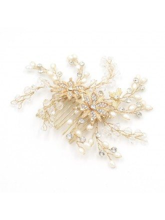 Handmade Pearls Floral Wedding Headpiece for Updos