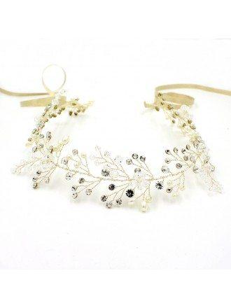Classic Leaf Pearl with Crystal Bridal Headpiece for Weddings