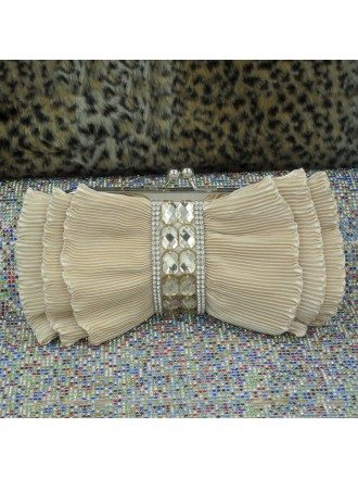Unique Pleated Satin Clutches Rhinestone With Style