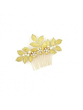 Classical Leafs Bridal Hair Comb Jewelry in Gold Color