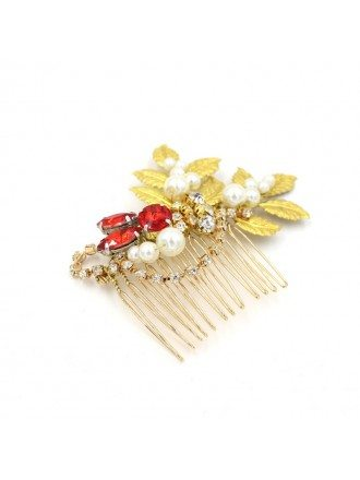 Red Stones with Leafs Wedding Hair Comb