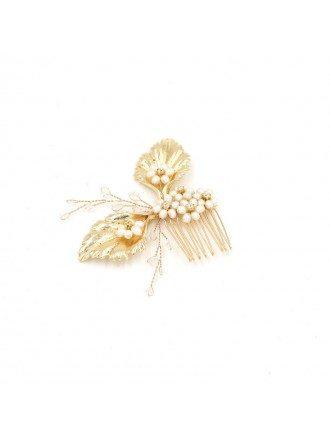 Golden Leafs Wedding Headpiece Hair Comb