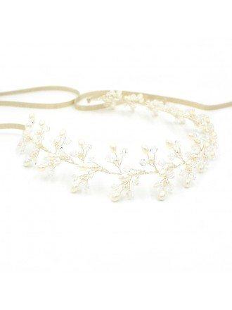 White Pearls Silver Color Bridal Headband