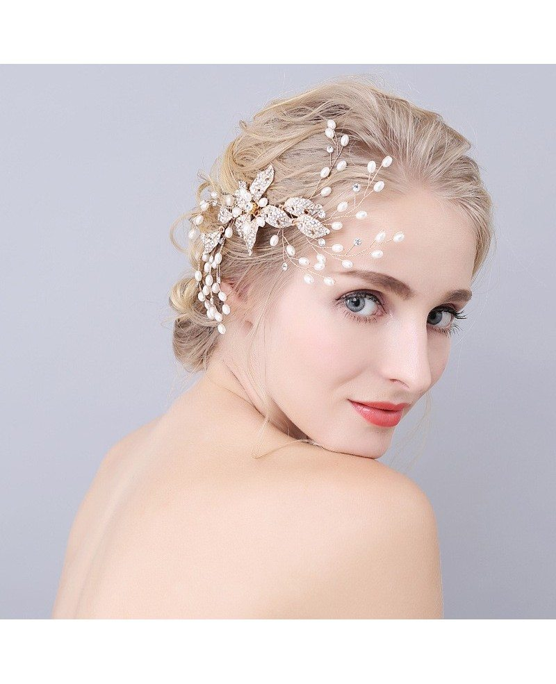 Pearls and Crystals Twigs Wedding Hair Comb Jewelry - GemGrace