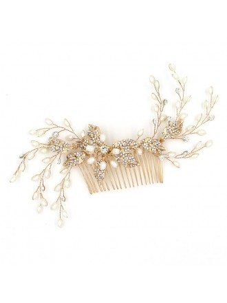 Pearls and Crystals Twigs Wedding Hair Comb Jewelry