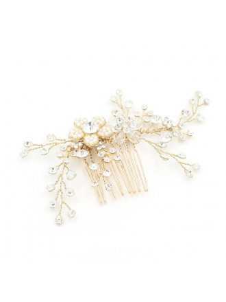Twigs and Flowers Simple Gold Color Hair Comb for Brides