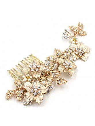 Golden Floral Bridal Hair Comb