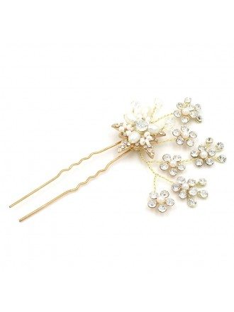 Simple U-shape Hair Pin with Crystals