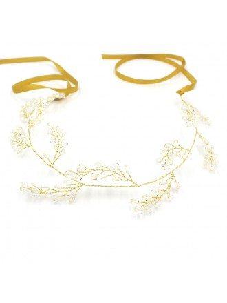 Simple Twigs Crystal Wedding Ribbon Headband
