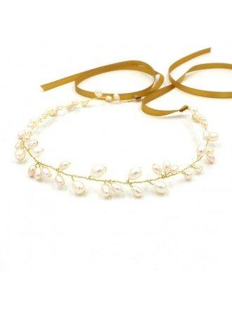 Fresh Water Pearls Bridal Headband with a Ribbon