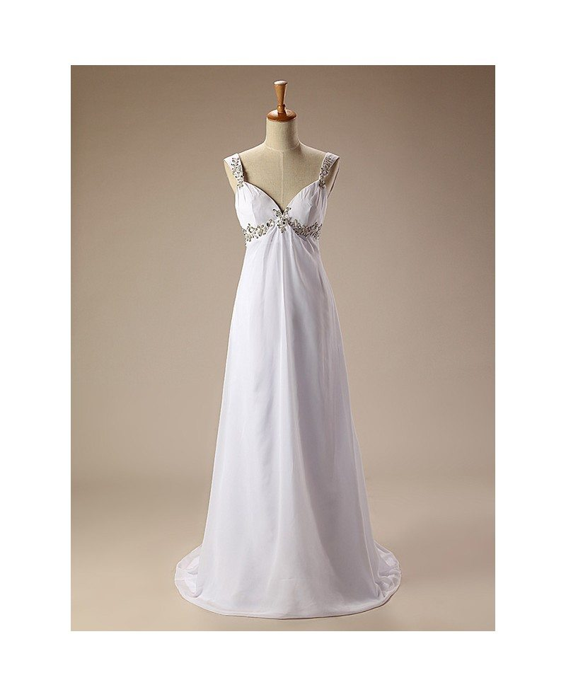 Simple beaded straps long chiffon wedding dress cy0049 for Plain wedding dresses with straps