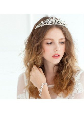 Bridal Hairband Tiara in Silver Color